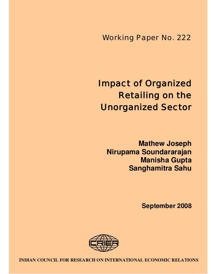 ICRIER Study on Impact of Organized Retailing on Unorganized Retail in India