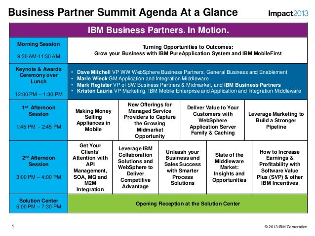 Business Partner Summit Agenda At a Glance                                 IBM Business Partners. In Motion.     Morning S...