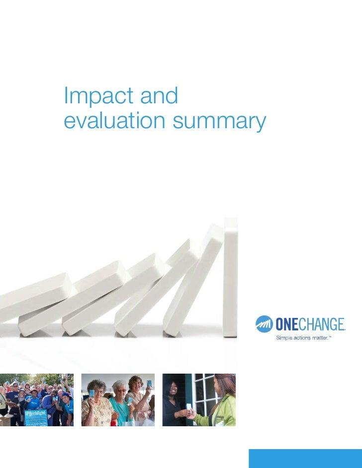 Impact and evaluation summary