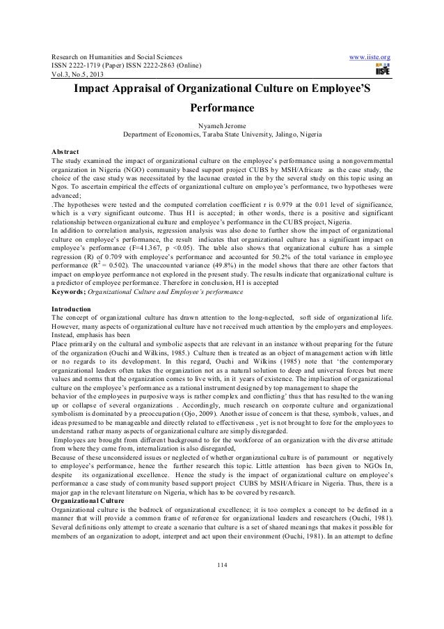Impact appraisal of organizational culture on employee's performance