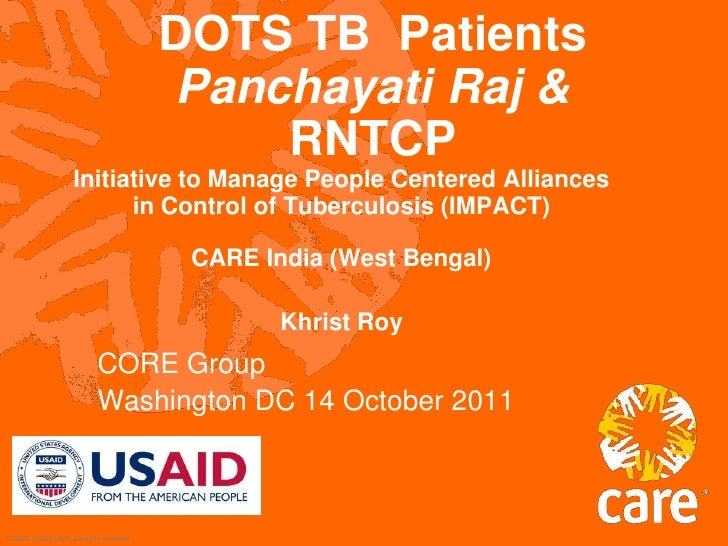 DOTS TB  PatientsPanchayati Raj &RNTCP<br />Initiative to Manage People Centered Alliances in Control of Tuberculosis (IMP...
