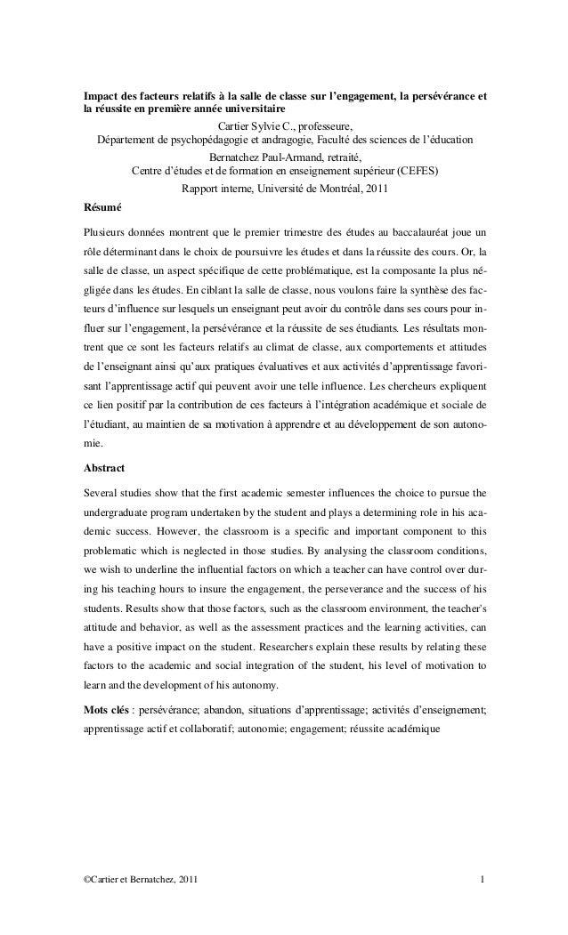 ©Cartier et Bernatchez, 2011 1 Impact des facteurs relatifs à la salle de classe sur l'engagement, la persévérance et la r...