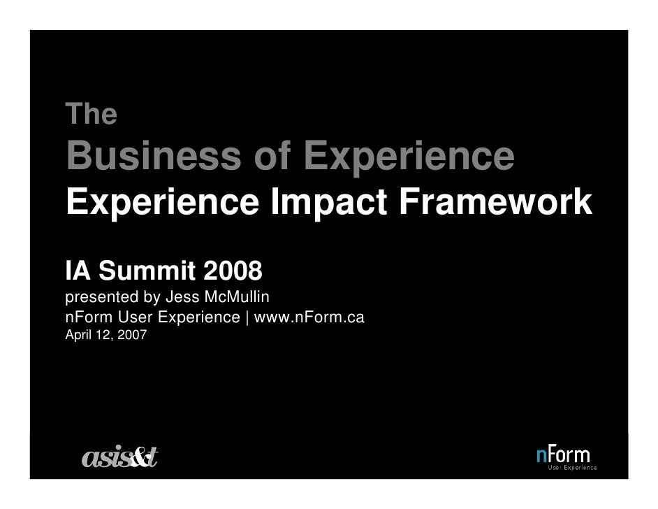 The Business of Experience Experience Impact Framework IA Summit 2008 presented by Jess McMullin nForm User Experience | w...