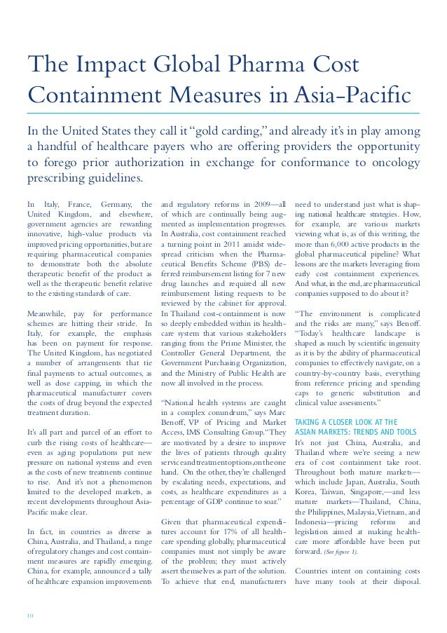 10 The Impact Global Pharma Cost Containment Measures in Asia-Pacific In Italy, France, Germany, the United Kingdom, and e...