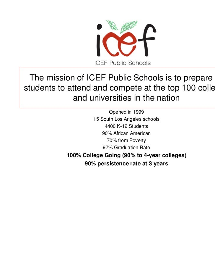 The mission of ICEF Public Schools is to prepare allstudents to attend and compete at the top 100 colleges             and...