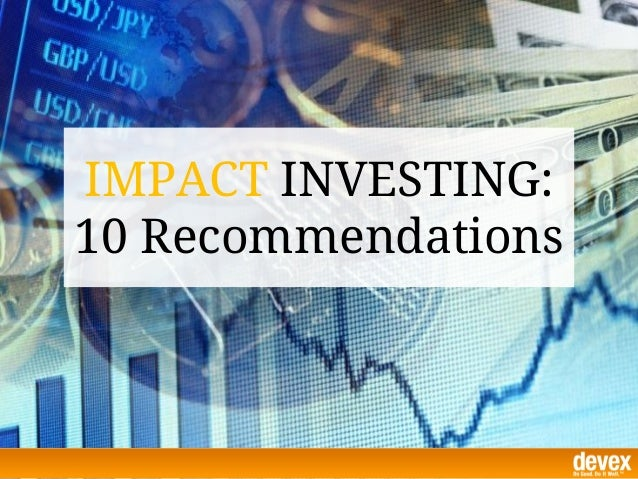 Impact Investing: Recommendations