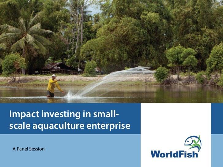 Impact investing in small-scale aquaculture enterprise