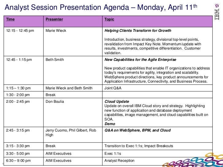 Analyst Session Presentation Agenda – Monday, April 11th    Time               Presenter                        Topic    1...