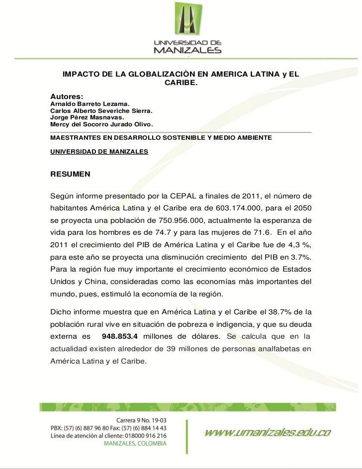 IMPACTO DE LA GLOBALIZACIÒN EN AMERICA LATINA y EL                        CARIBE.Autores:Arnaldo Barreto Lezama.Carlos Alb...