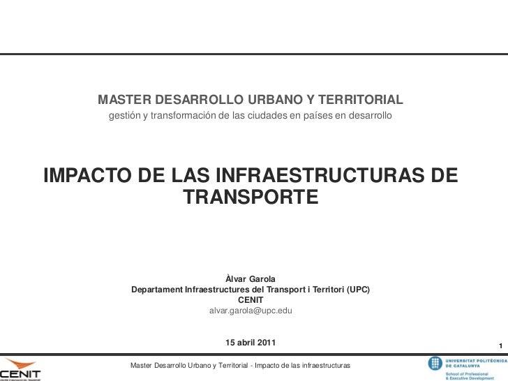 MASTER DESARROLLO URBANO Y TERRITORIAL     gestión y transformación de las ciudades en países en desarrolloIMPACTO DE LAS ...