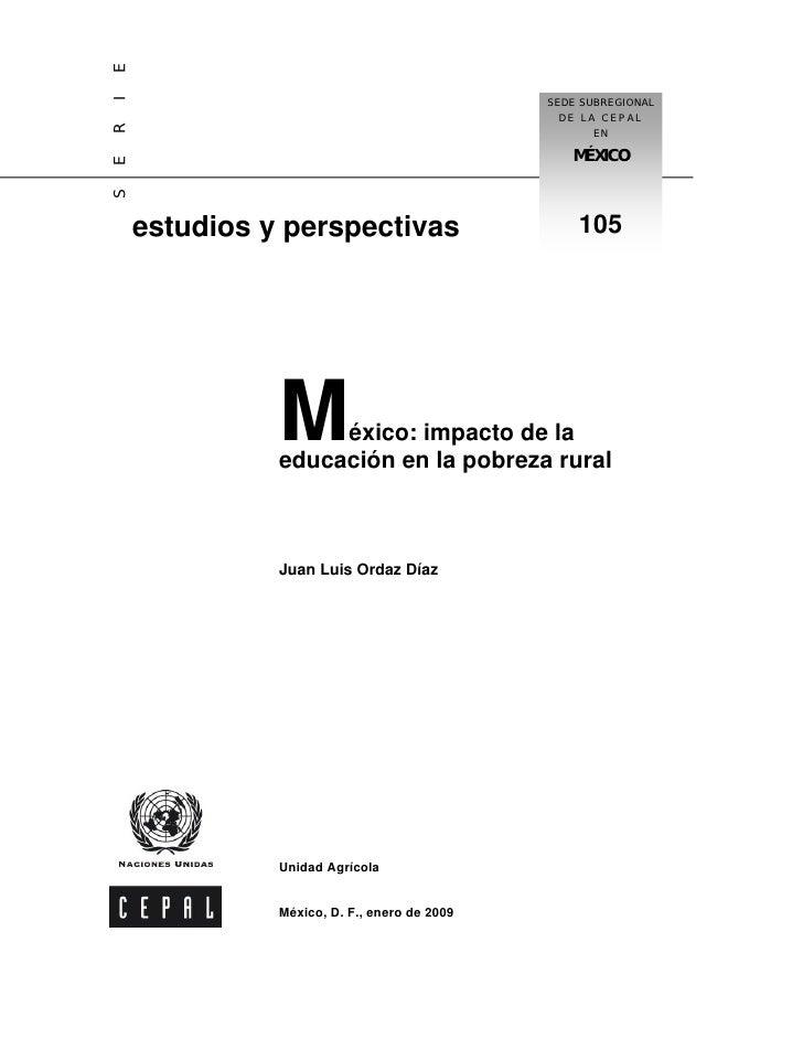Impacto De La EducacióN Sobre La Pobreza Rural Cepal