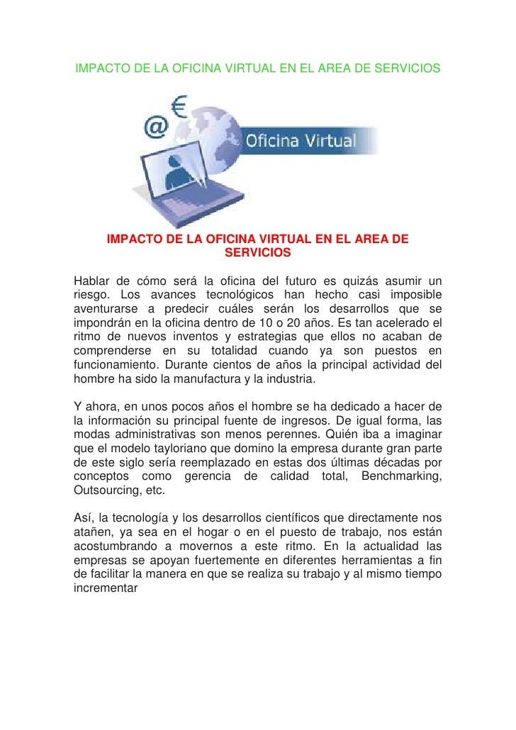 Impacto de la oficina virtual en el area de servicios for Oficina virtual educacion