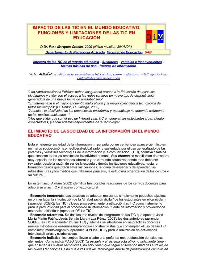 IMPACTO DE LAS TIC EN EL MUNDO EDUCATIVO.     FUNCIONES Y LIMITACIONES DE LAS TIC EN                   EDUCACIÓN        © ...