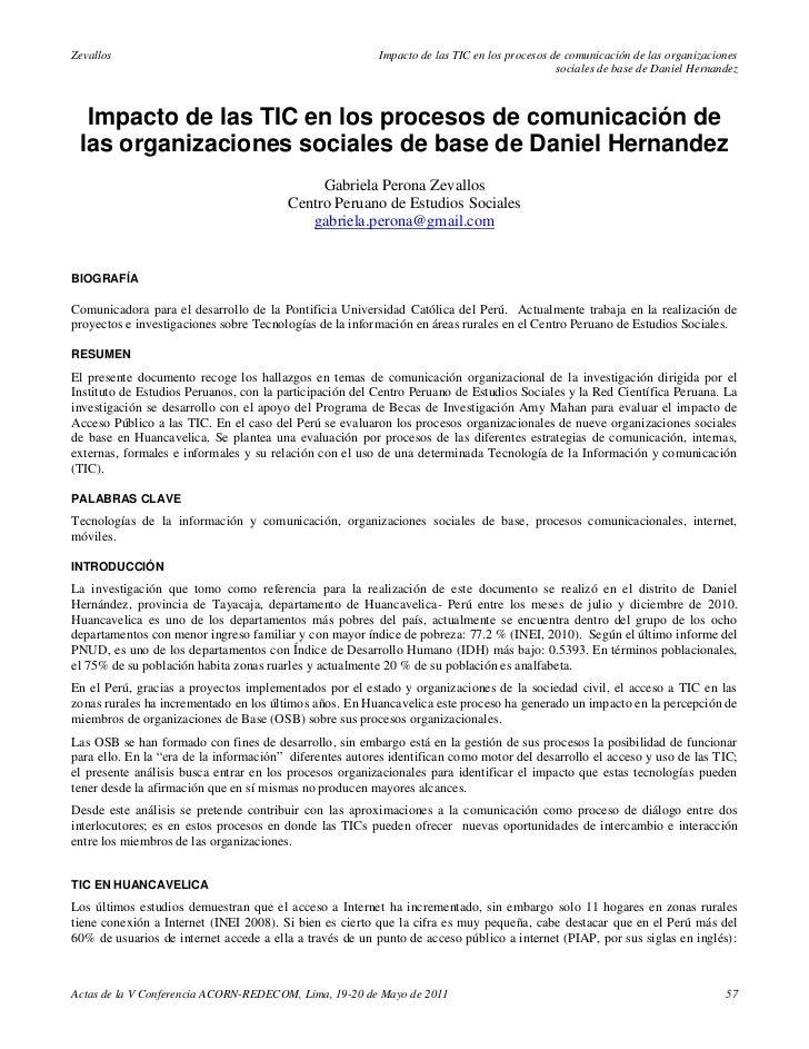 Impacto de las tic en los procesos de comunicación de las organizaciones sociales de base de daniel hernandez - Gabriela Perona Zevallos (2011)