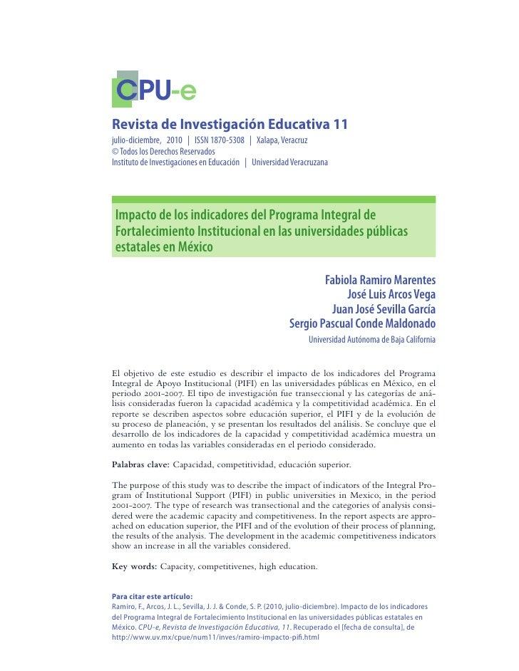 Impacto de los indicadores del pifi en las universidades públicas estatales en méxico