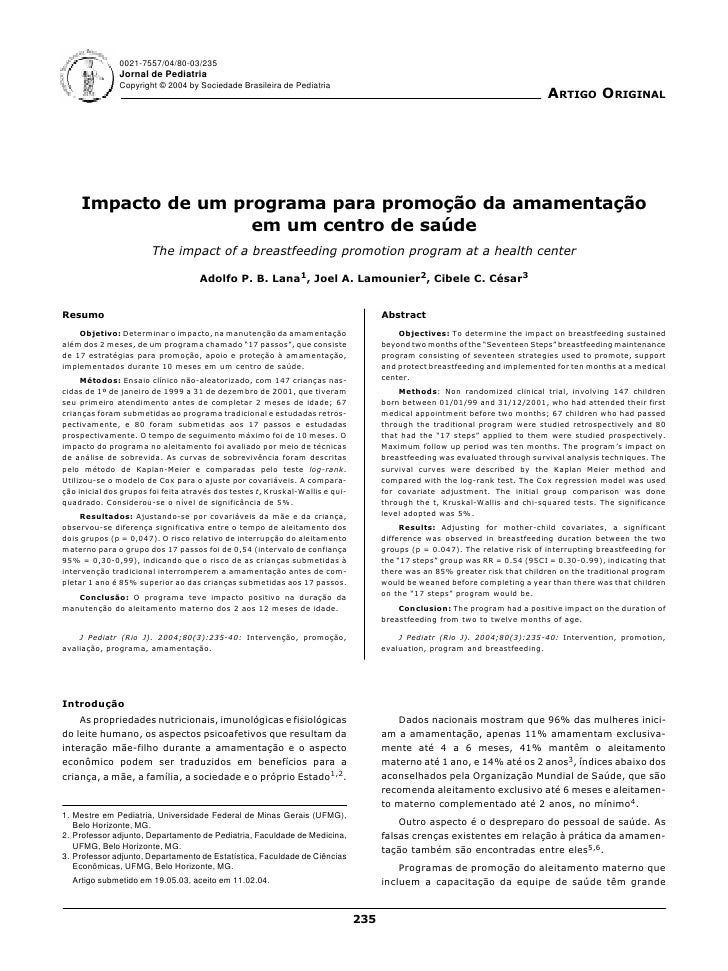 0021-7557/04/80-03/235                Jornal de Pediatria                Copyright © 2004 by Sociedade Brasileira de Pedia...