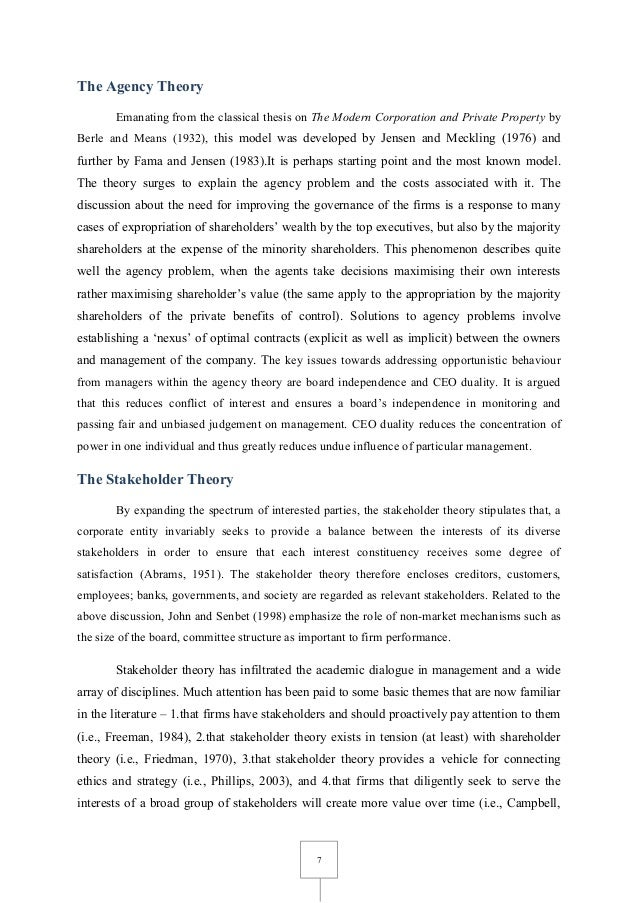 thesis on corporate governance and firm performance Corporate governance, firm performance, and executive compensation: evidence from china a thesis submitted to the college of graduate studies and research in partial fulfillment of the requirements for the degree of master of science in finance in the department of finance and.