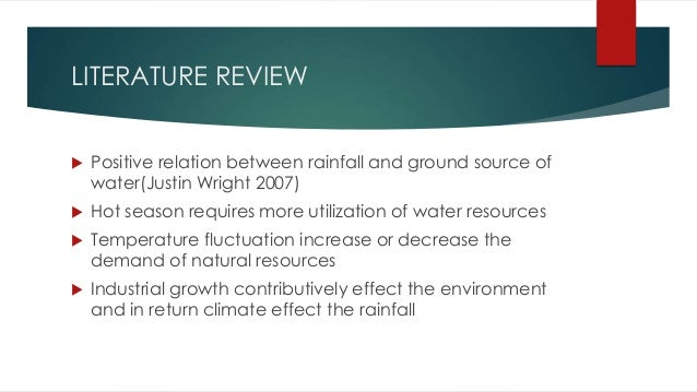 Literature review on water