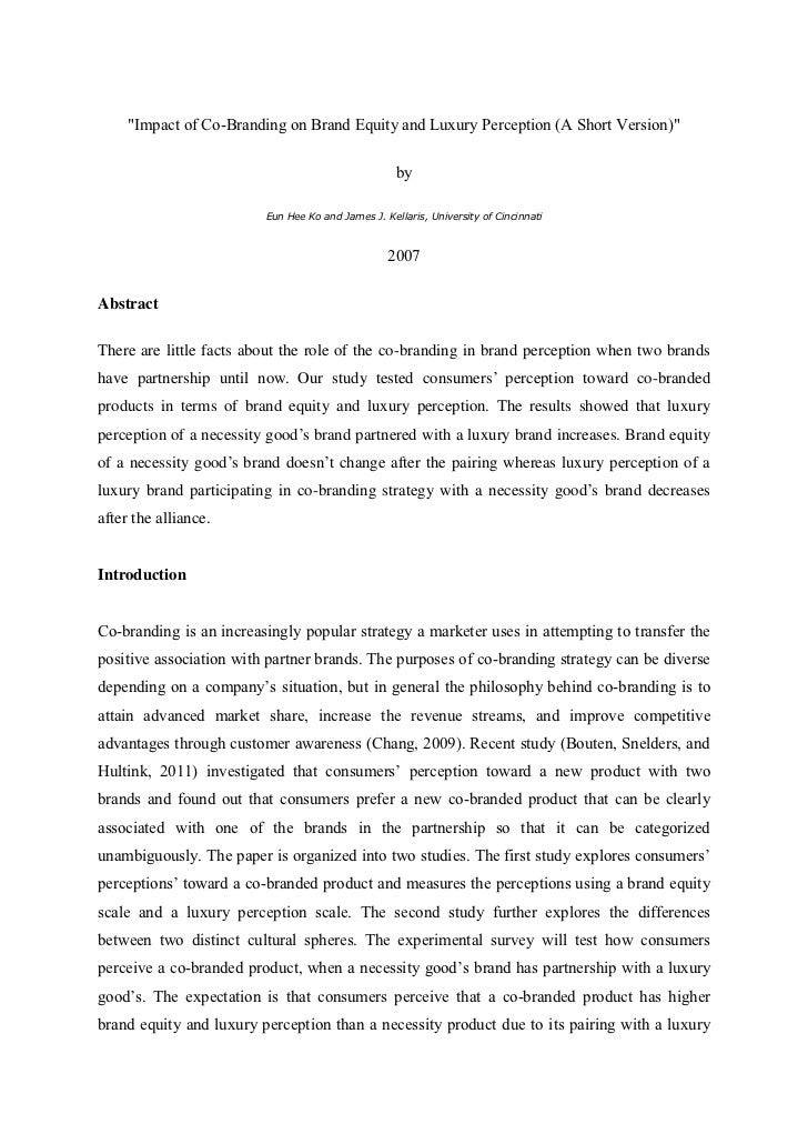 """""""Impact of Co-Branding on Brand Equity and Luxury Perception (A Short Version)""""                                           ..."""