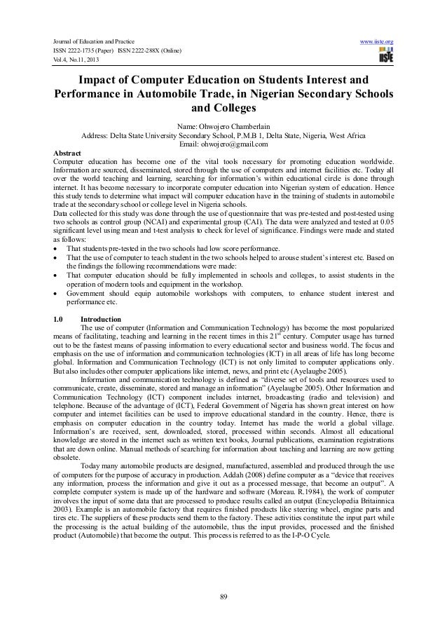 Impact of computer education on students interest and performance in automobile trade, in nigerian secondary schools and colleges