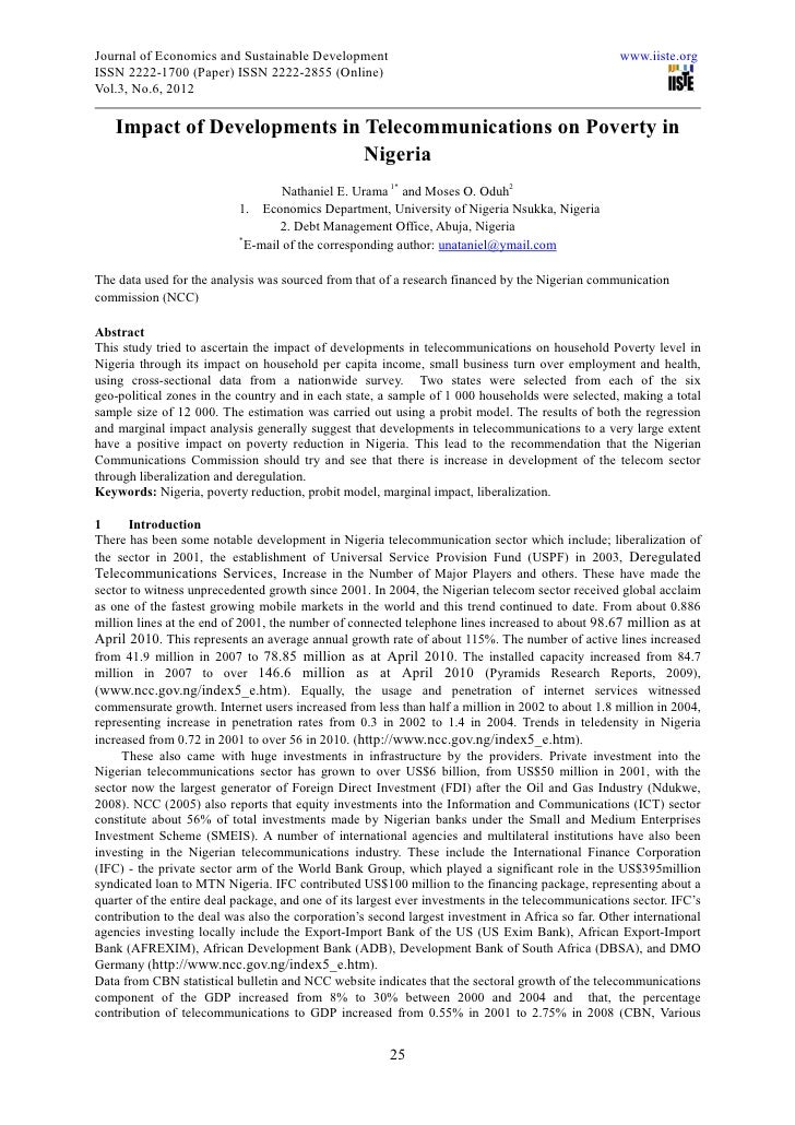 Journal of Economics and Sustainable Development                                                   www.iiste.orgISSN 2222-...