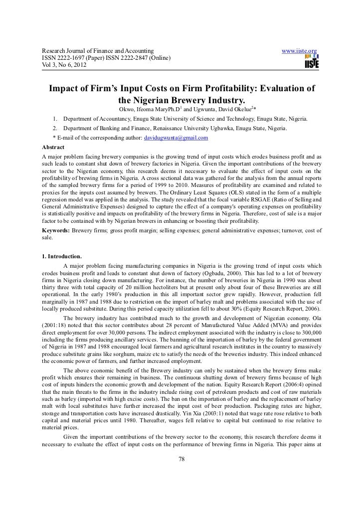 Impact of firm's input costs on firm profitability