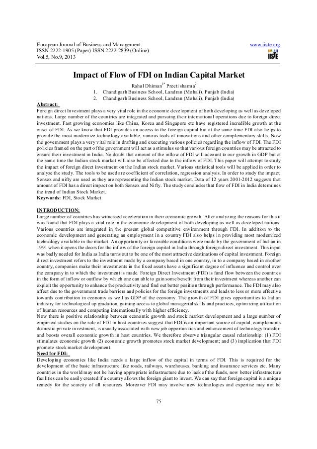 Impact of flow of fdi on indian capital market