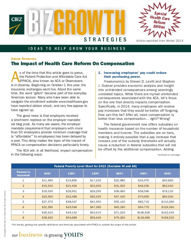 BIZGROWTH  STRATEGIES  Special Health Care Reform Edition Article reprinted from Winter 2014  IDEAS TO HELP GROW YOUR BUSI...