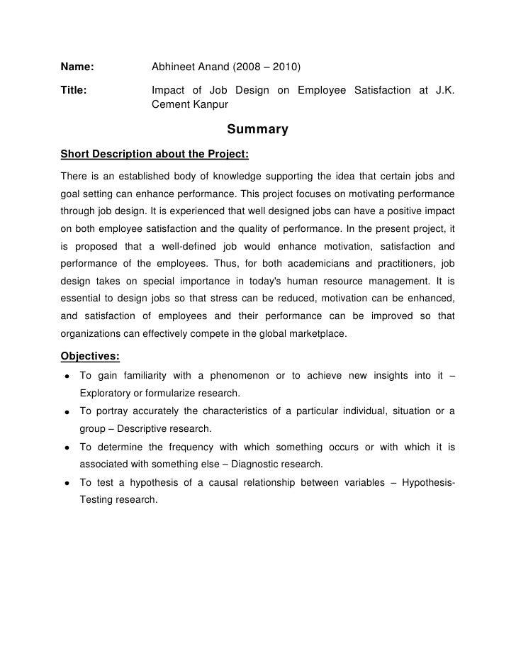 Impact Of Job Design On Employee Satisfaction At J K  Cement Kanpur