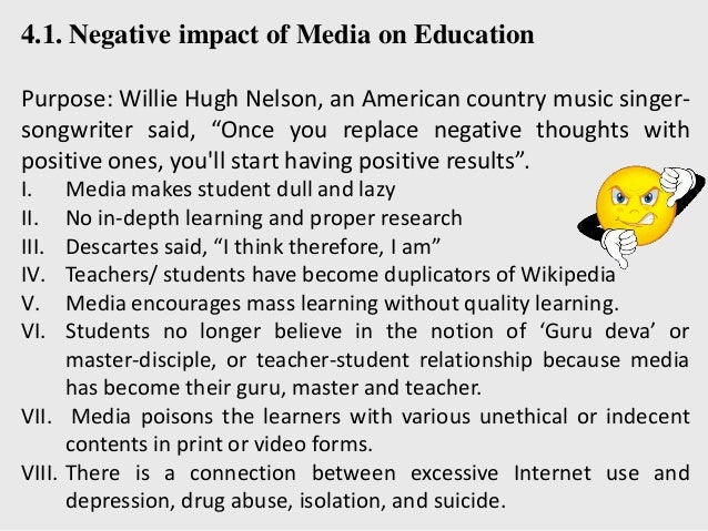 essay on influence of media on education Getting essay samples on education social network impact on youth social media helps the youth and any other user updated with what is happening around.