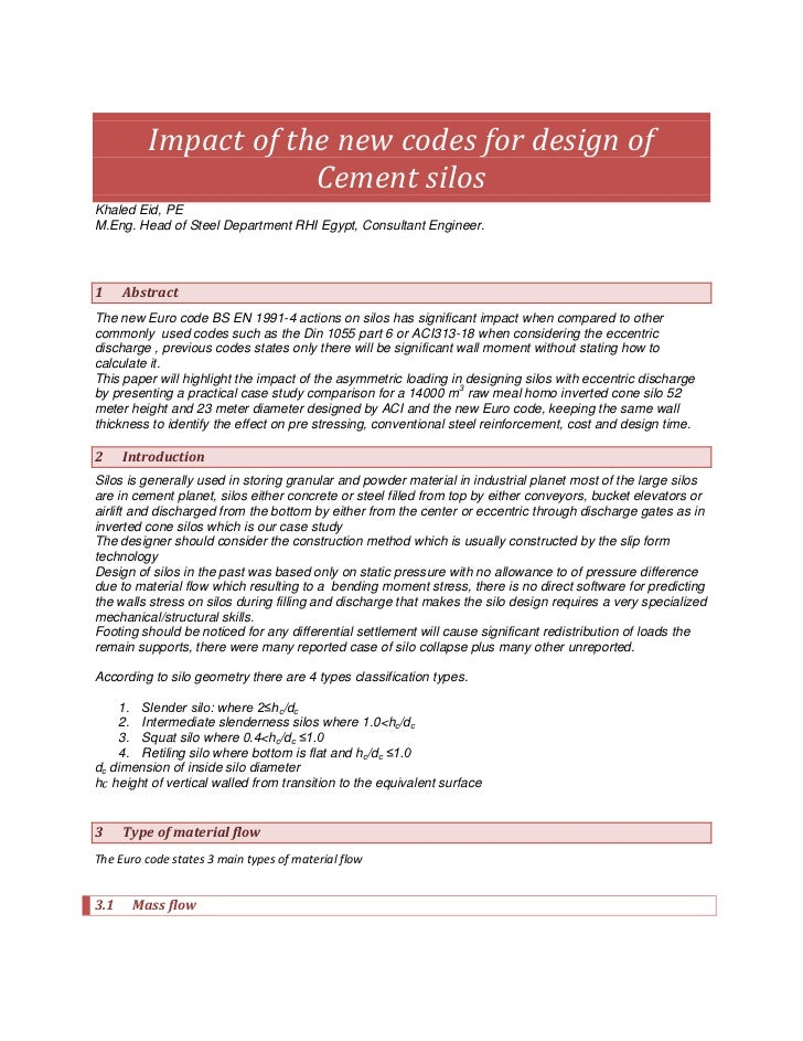 Impact of new codes in silos design