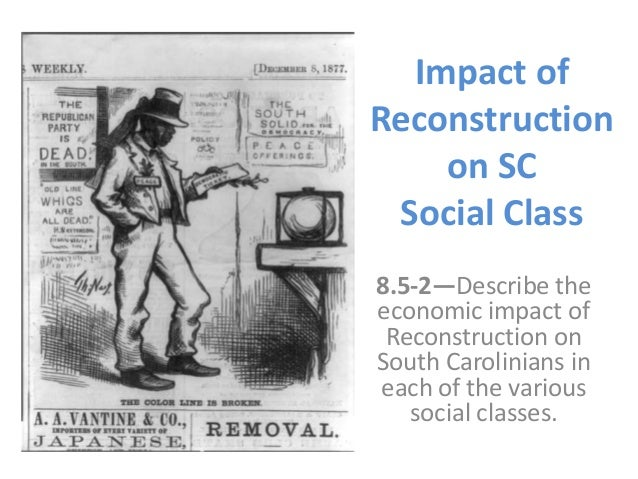 Impact of Reconstruction on SC Social Class 8.5-2—Describe the economic impact of Reconstruction on South Carolinians in e...