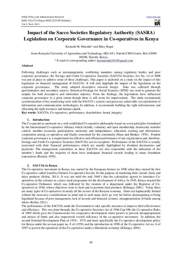 Impact of the sacco societies regulatory authority (sasra)