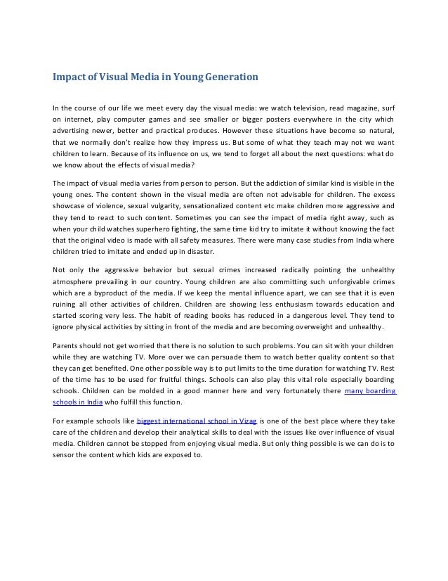 Impact of visual media in young generation