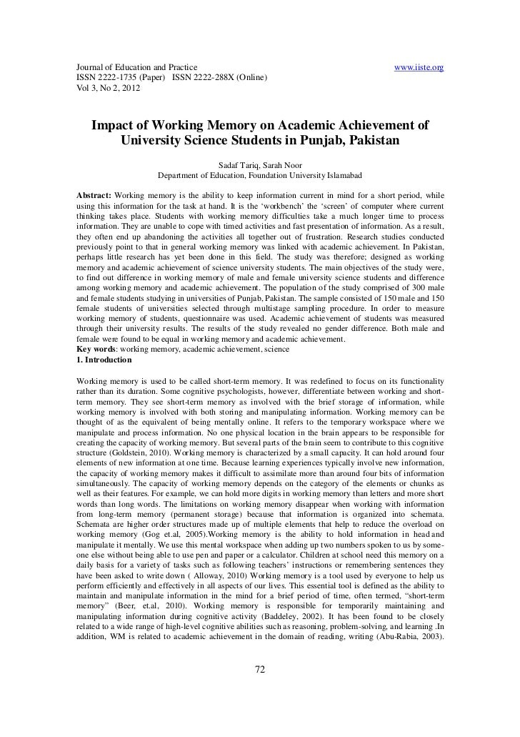 Impact of working memory on academic achievement of university science students in punjab, pakistan