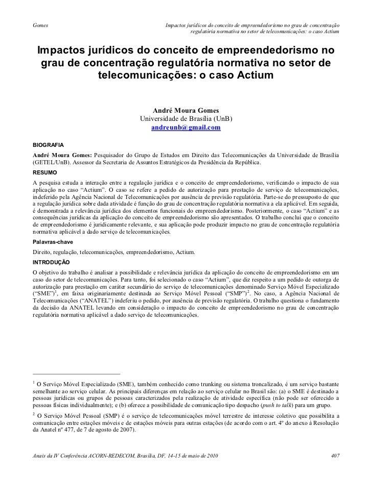 Gomes                                                 Impactos jurídicos do conceito de empreendedorismo no grau de concen...
