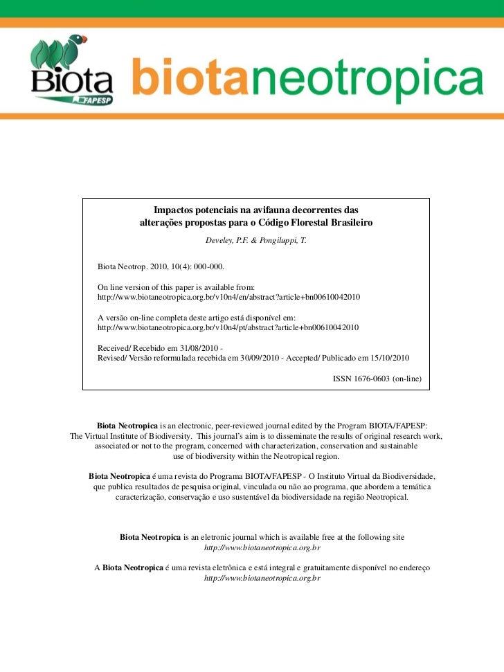 Impactos potenciais na avifauna decorrentes das                     alterações propostas para o Código Florestal Brasileir...