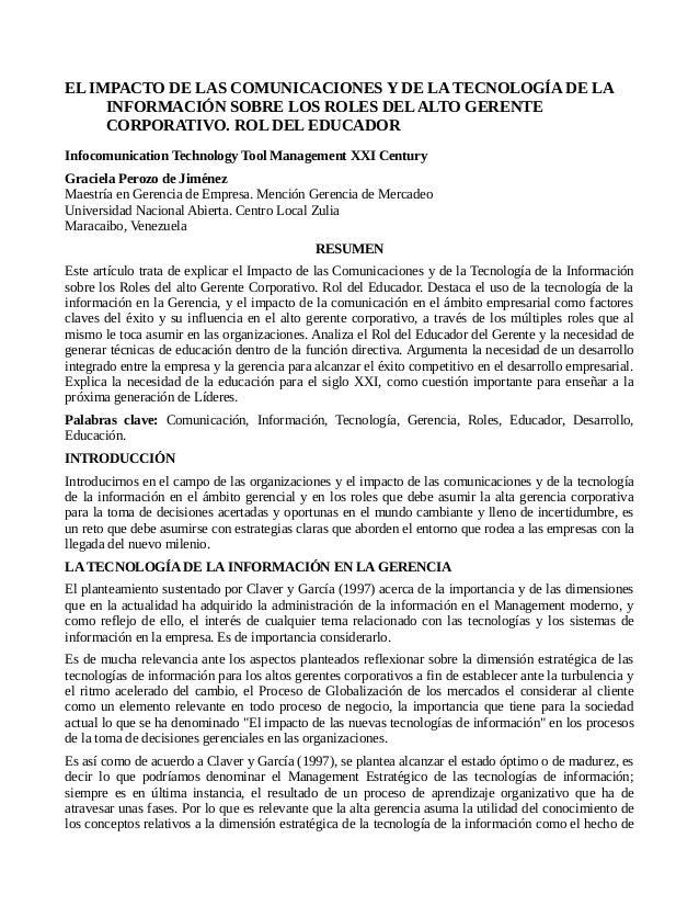 EL IMPACTO DE LAS COMUNICACIONES Y DE LA TECNOLOGÍA DE LA INFORMACIÓN SOBRE LOS ROLES DEL ALTO GERENTE CORPORATIVO. ROL DE...