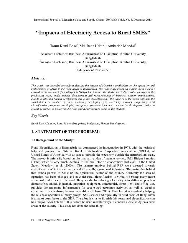 "International Journal of Managing Value and Supply Chains (IJMVSC) Vol.4, No. 4, December 2013  ""Impacts of Electricity Ac..."