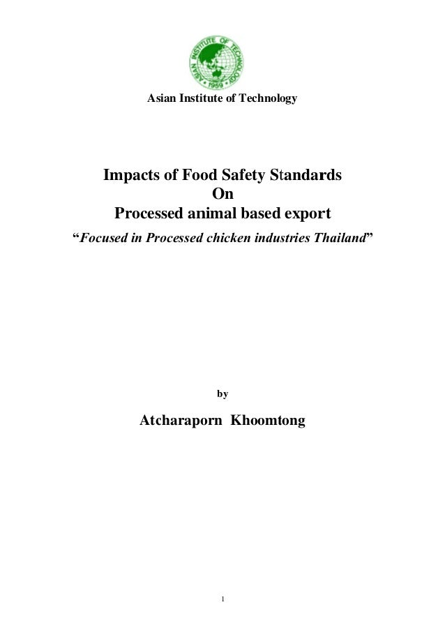 Impacts of food safety standards on processed (case study Thailand)