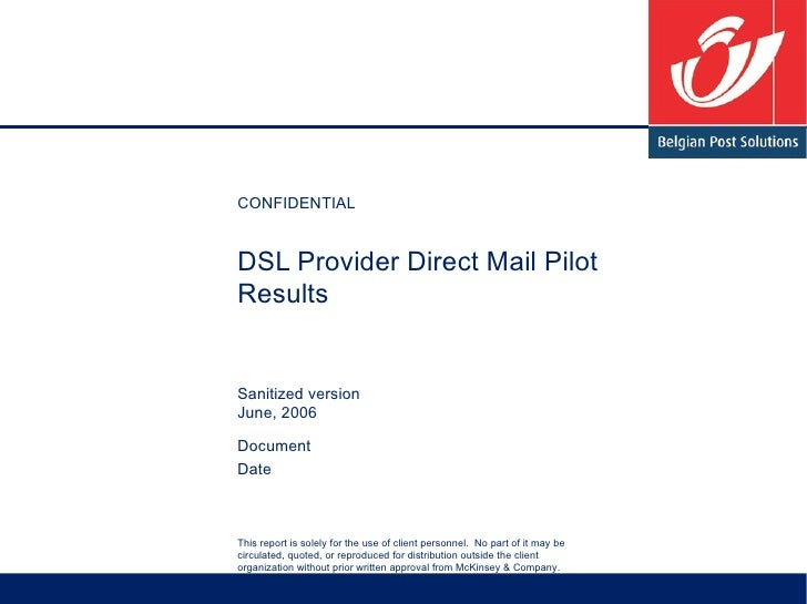 DSL Provider Direct Mail Pilot Results Sanitized version June, 2006