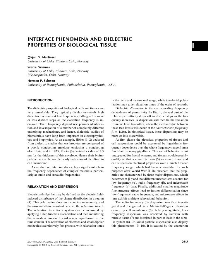 INTERFACE PHENOMENA AND DIELECTRIC PROPERTIES OF BIOLOGICAL TISSUE                                                        ...