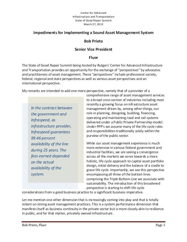 Impediments for implementing a sound asset management system rev 2
