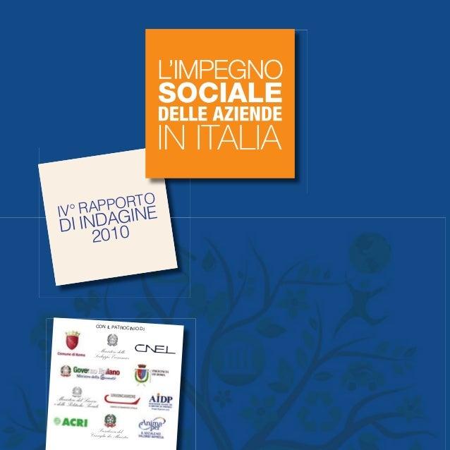 IV Rapporto Nazionale sull'Impegno Sociale delle Aziende in Italia