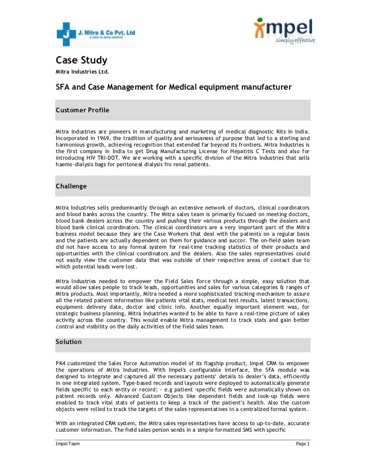 SFA and Case Management for Medical equipment manufacturer
