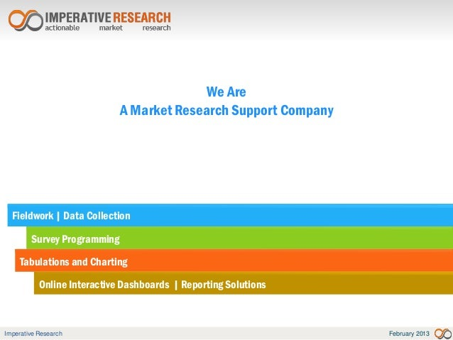 We Are                             A Market Research Support Company  Fieldwork | Data Collection        Survey Programmin...