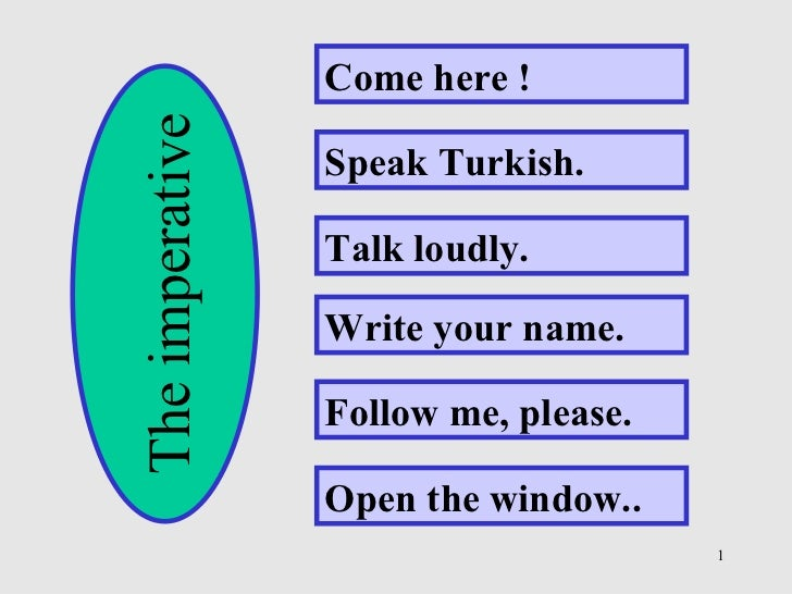Come here ! Speak Turkish. Talk loudly. Write your name. Follow me, please. Open the window.. The imperative