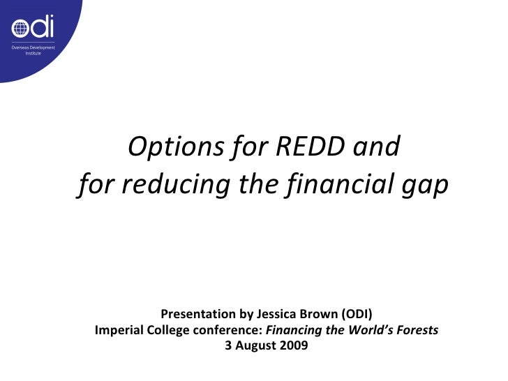 Options for REDD and for reducing the financial gap <ul><ul><li>Presentation by Jessica Brown (ODI) </li></ul></ul><ul><ul...