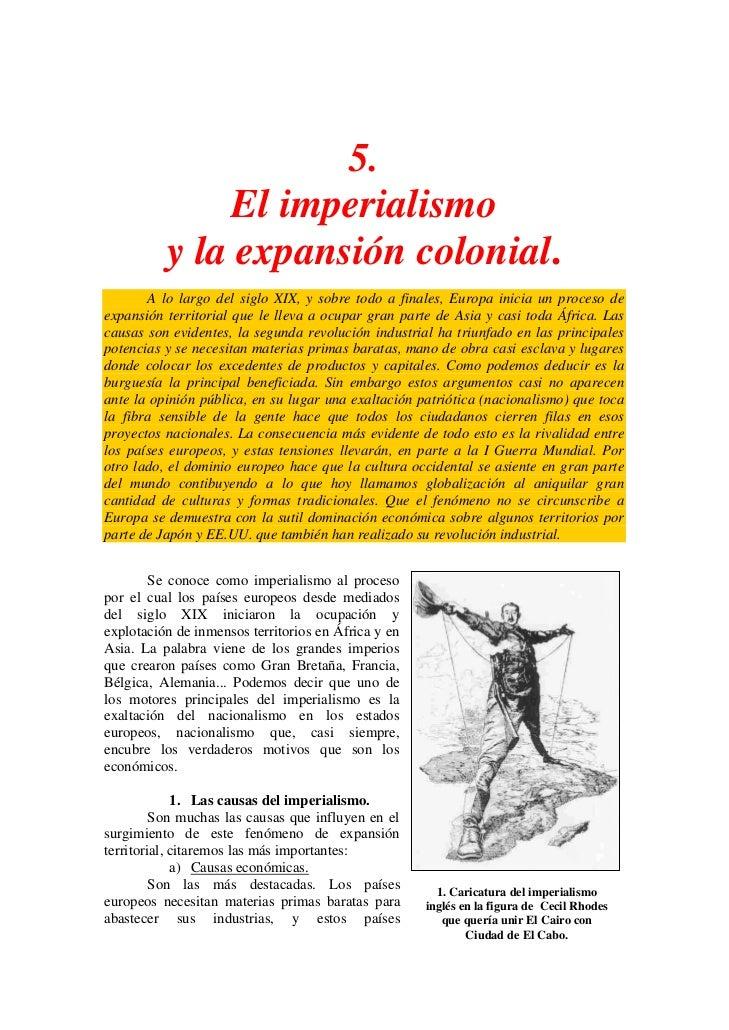 5.               El imperialismo          y la expansión colonial.       A lo largo del siglo XIX, y sobre todo a finales,...