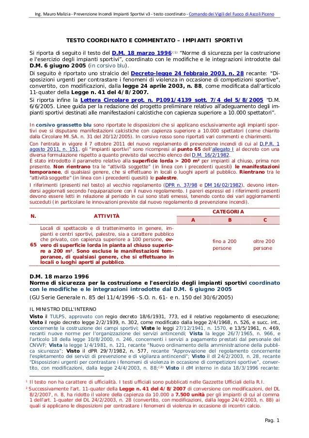 Norme antincendio impianti sportivi testo coordinato v3 - Testo i giardini di marzo ...